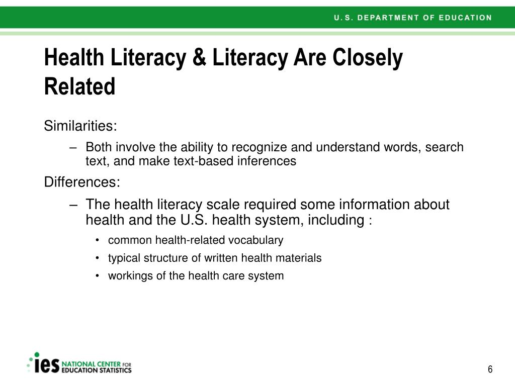 Health Literacy & Literacy Are Closely Related