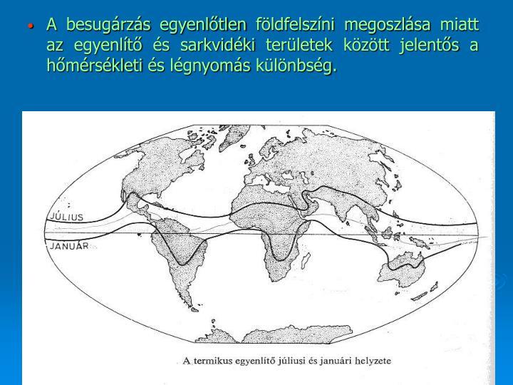 A besugárzás egyenlőtlen földfelszíni megoszlása miatt az egyenlítő és sarkvidéki területek között jelentős a hőmérsékleti és légnyomás különbség.