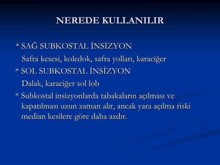 NEREDE KULLANILIR