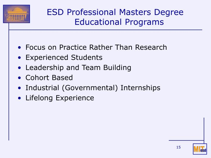 ESD Professional Masters Degree Educational Programs