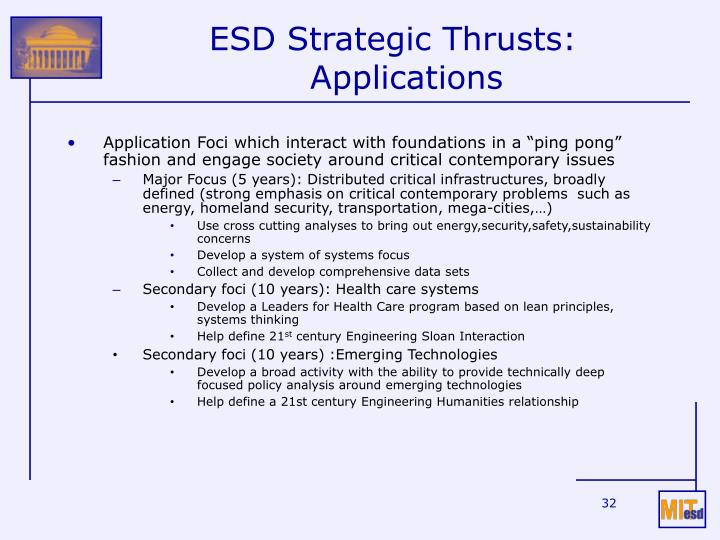 ESD Strategic Thrusts: Applications
