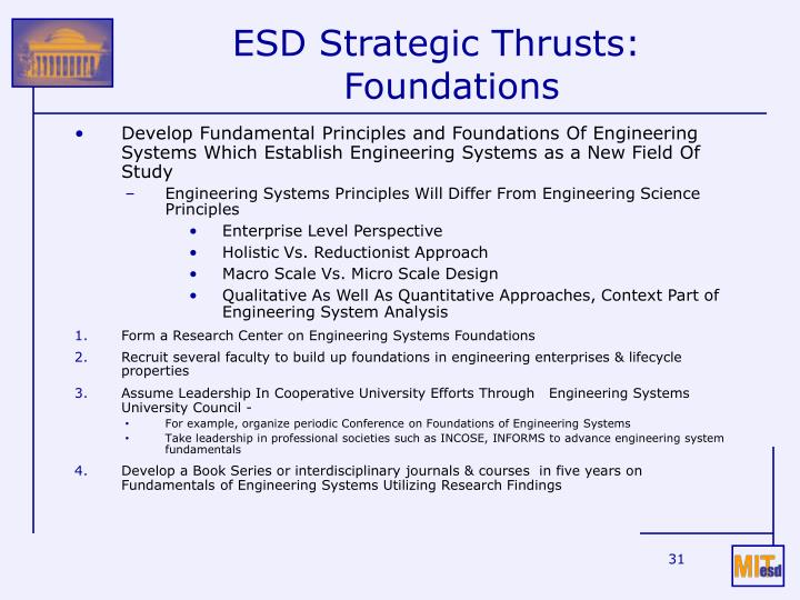 ESD Strategic Thrusts: Foundations