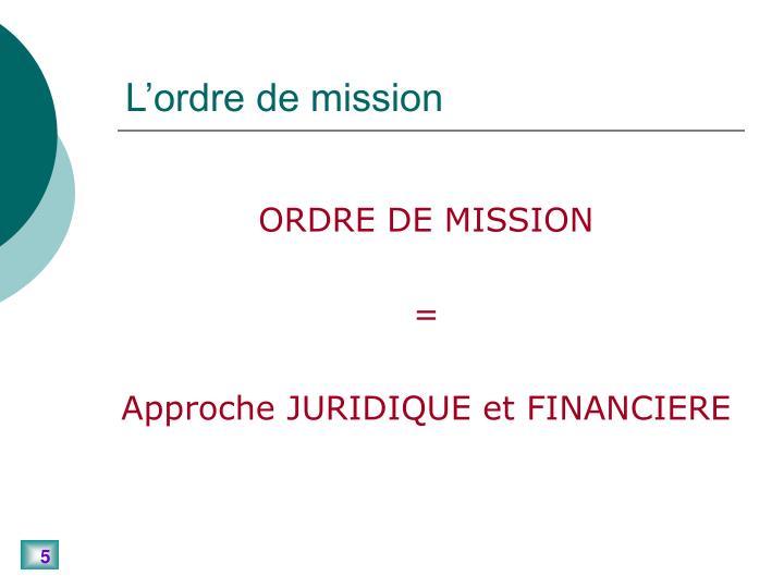 L'ordre de mission
