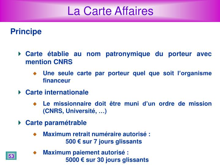 La Carte Affaires