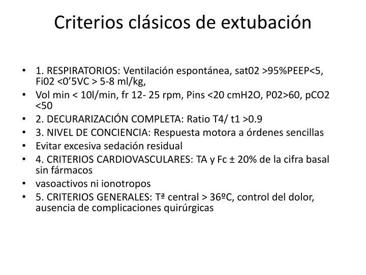 Criterios clásicos de