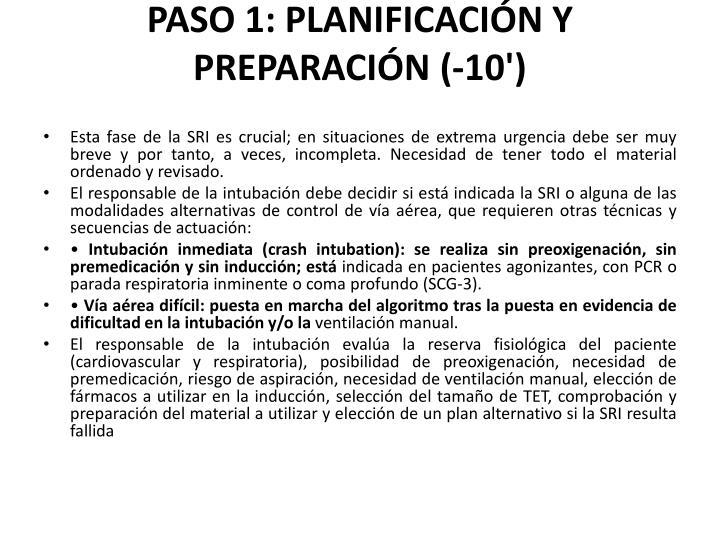 PASO 1: PLANIFICACIÓN Y PREPARACIÓN (-10')