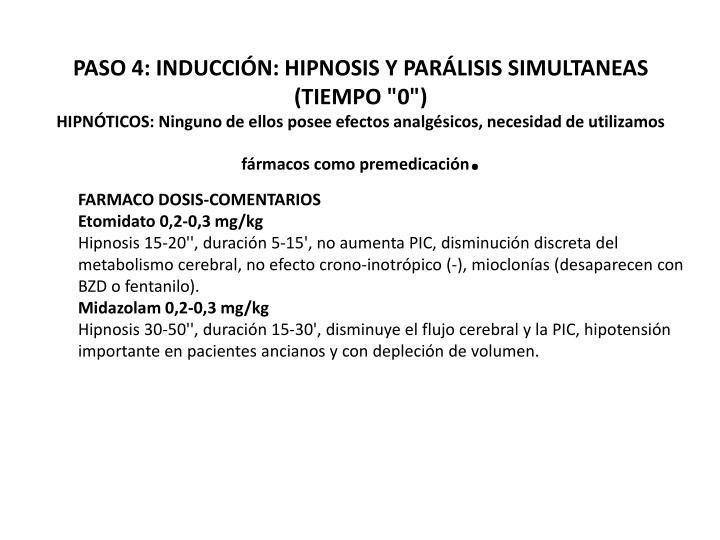 """PASO 4: INDUCCIÓN: HIPNOSIS Y PARÁLISIS SIMULTANEAS (TIEMPO """"0"""")"""