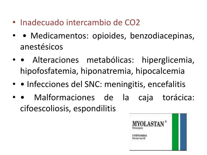 Inadecuado intercambio de CO2