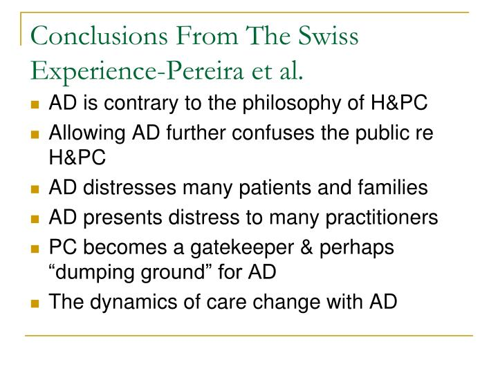 Conclusions From The Swiss Experience-Pereira et al.