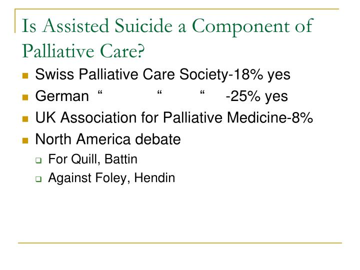Is Assisted Suicide a Component of Palliative Care?