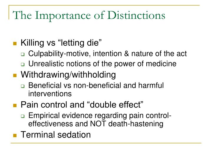 The Importance of Distinctions