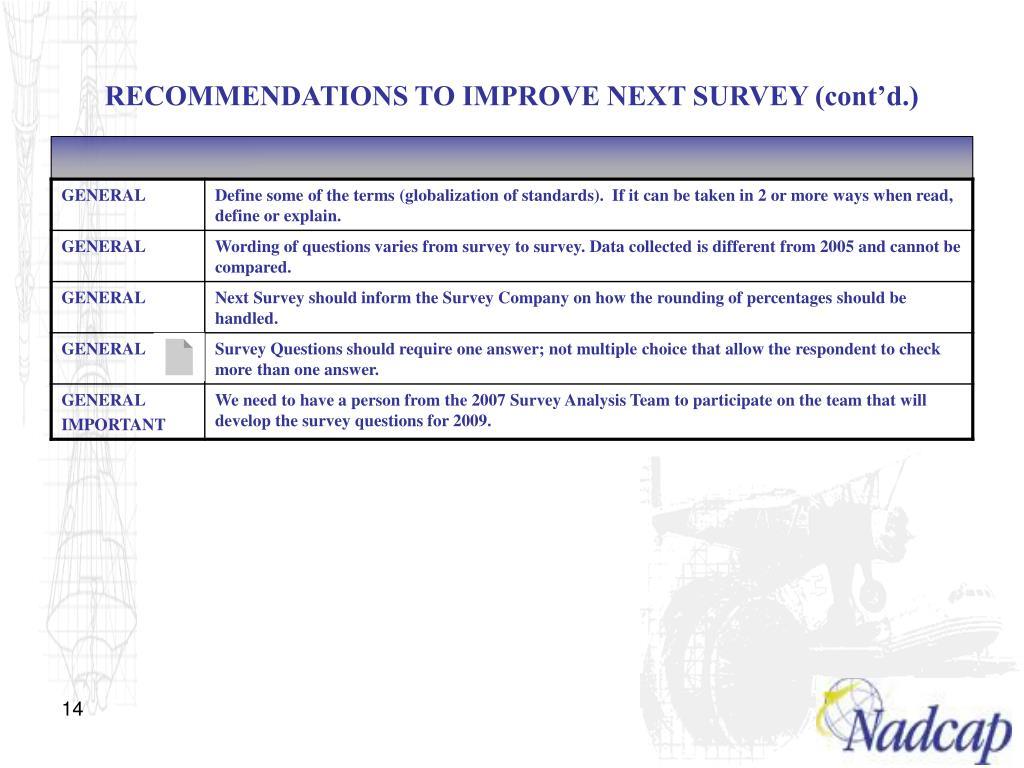 RECOMMENDATIONS TO IMPROVE NEXT SURVEY (cont'd.)