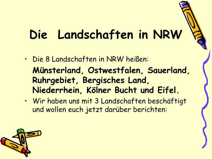 Die  Landschaften in NRW