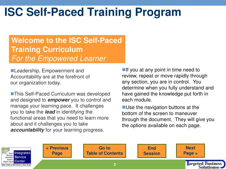 Isc self paced training program