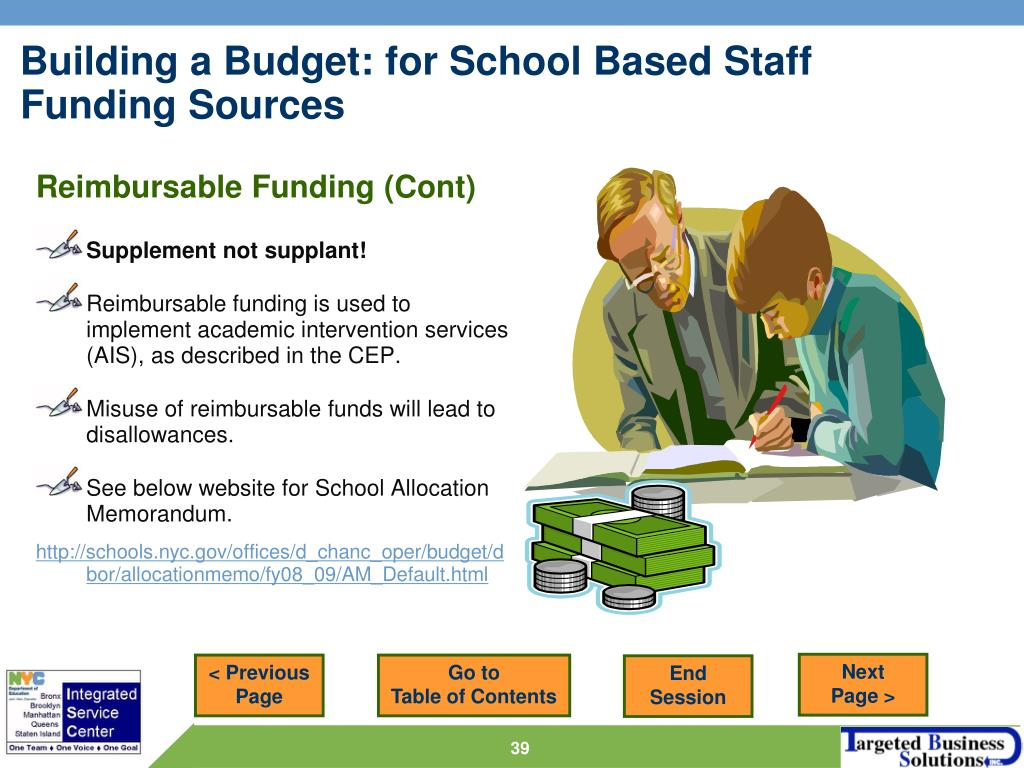 Reimbursable Funding (Cont)