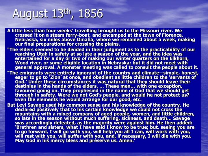 August 13 th 1856