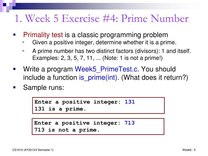 1. Week 5 Exercise #4: Prime Number