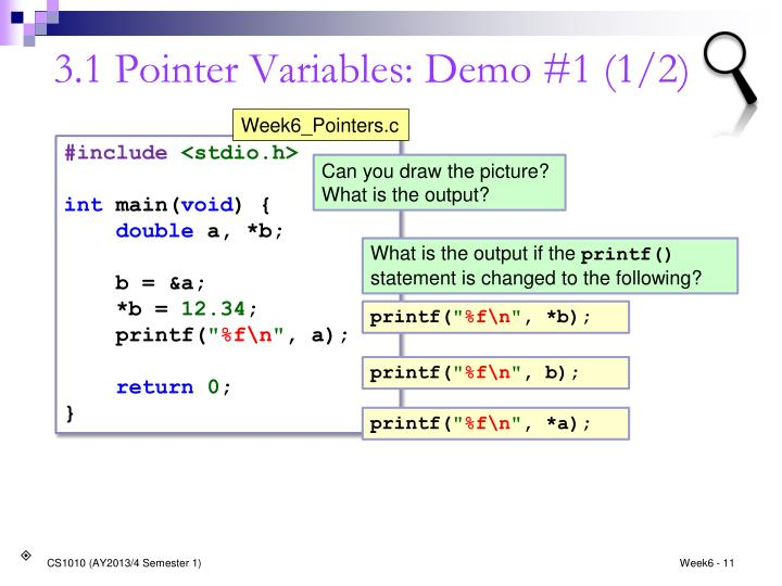 3.1 Pointer Variables: Demo #1 (1/2)