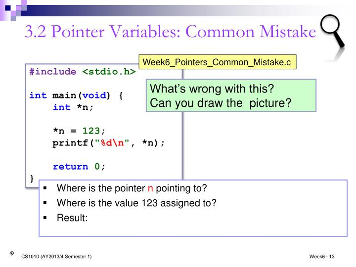 3.2 Pointer Variables: Common Mistake