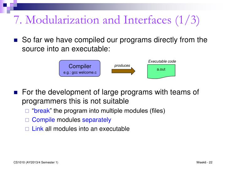 7. Modularization and Interfaces (1/3)