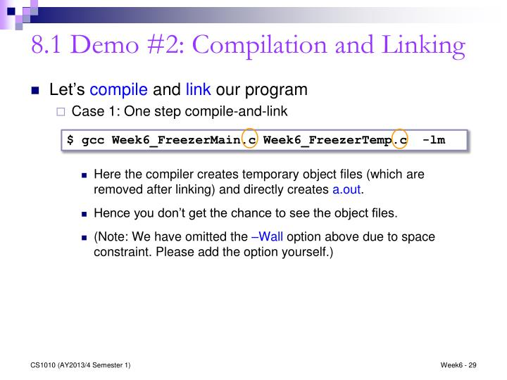 8.1 Demo #2: Compilation and Linking