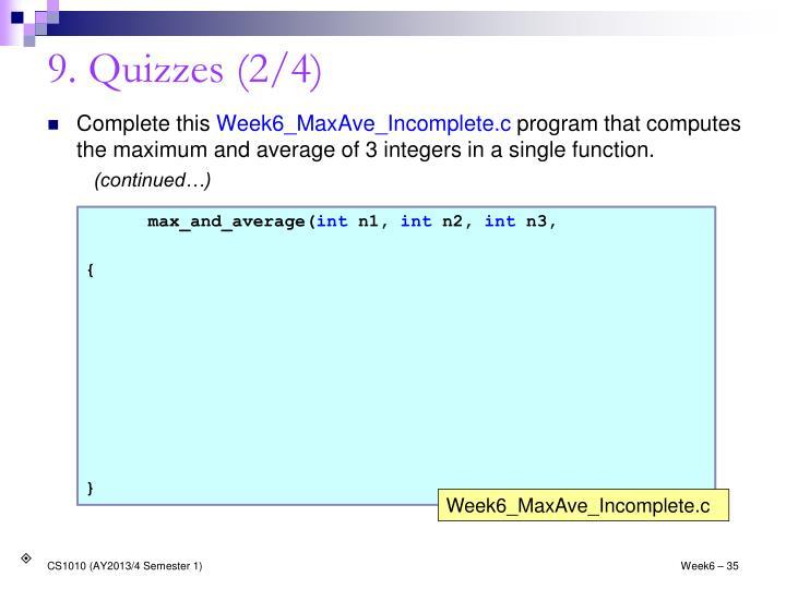 9. Quizzes (2/4)