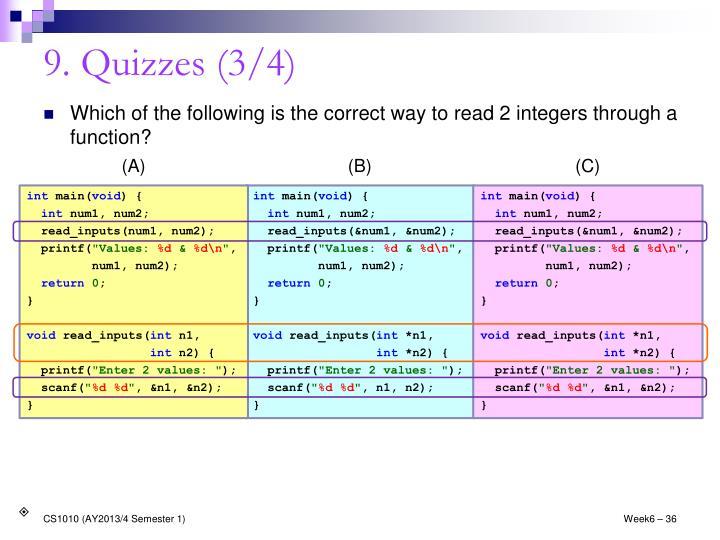 9. Quizzes (3/4)