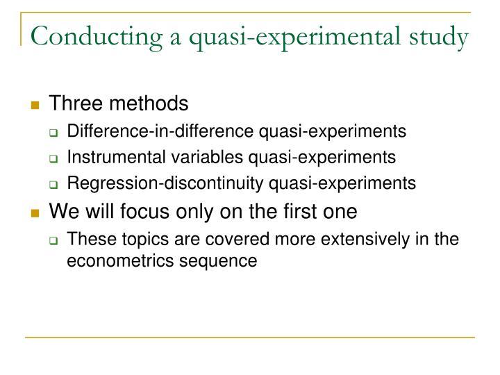 Conducting a quasi-experimental study