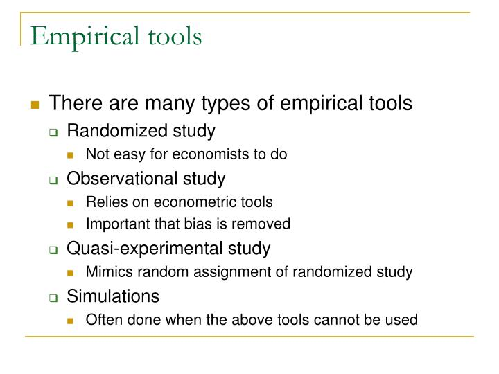 Empirical tools