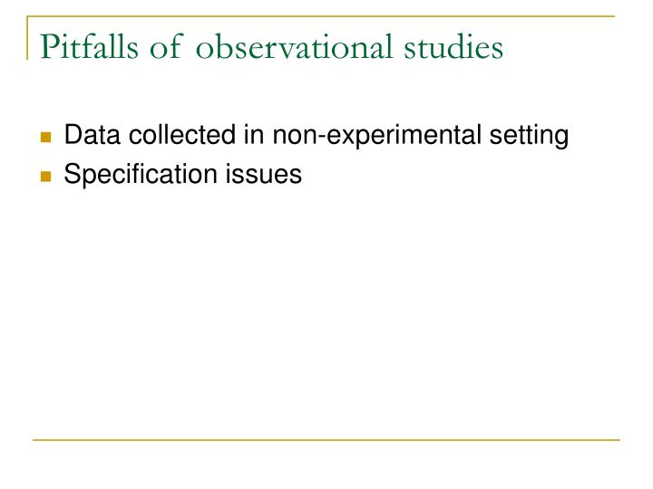 Pitfalls of observational studies