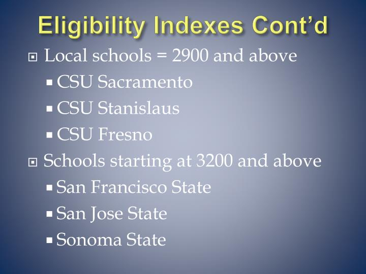 Eligibility Indexes Cont'd