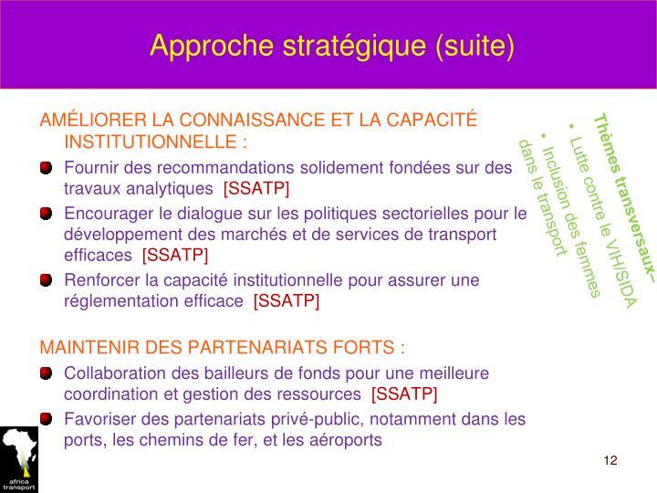 Approche stratégique (suite)
