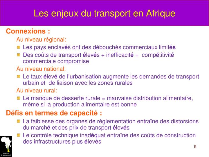 Les enjeux du transport en Afrique