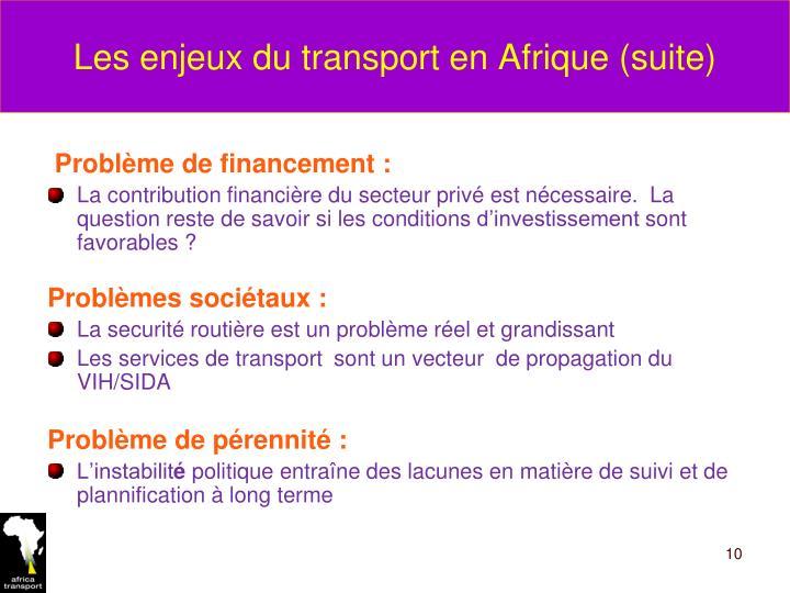 Les enjeux du transport en Afrique (suite)
