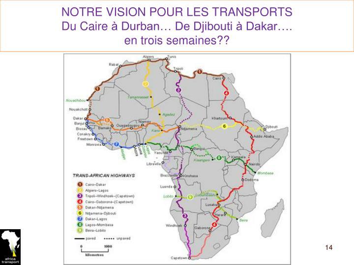NOTRE VISION POUR LES TRANSPORTS