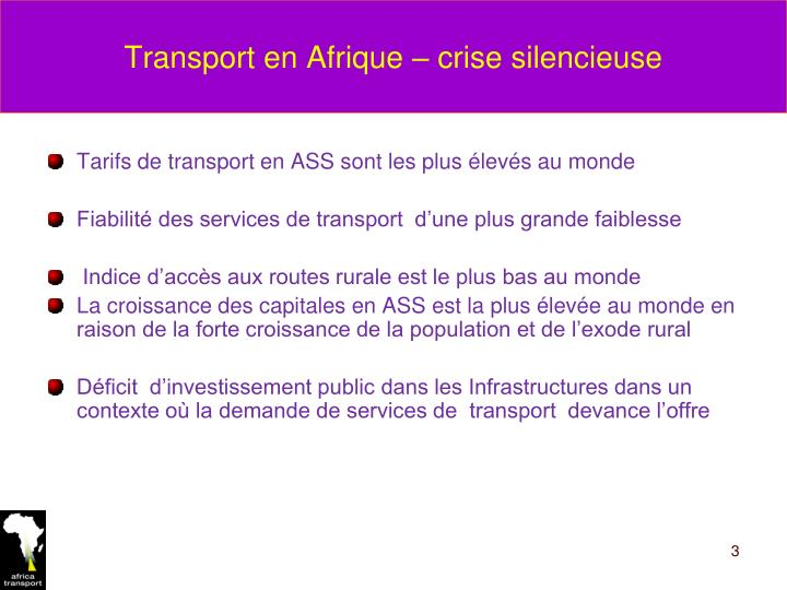 Transport en Afrique – crise silencieuse