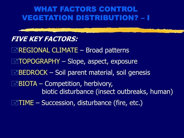 WHAT FACTORS CONTROL VEGETATION DISTRIBUTION? – I