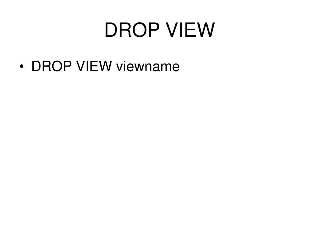 DROP VIEW