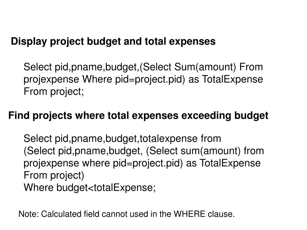 Display project budget and total expenses