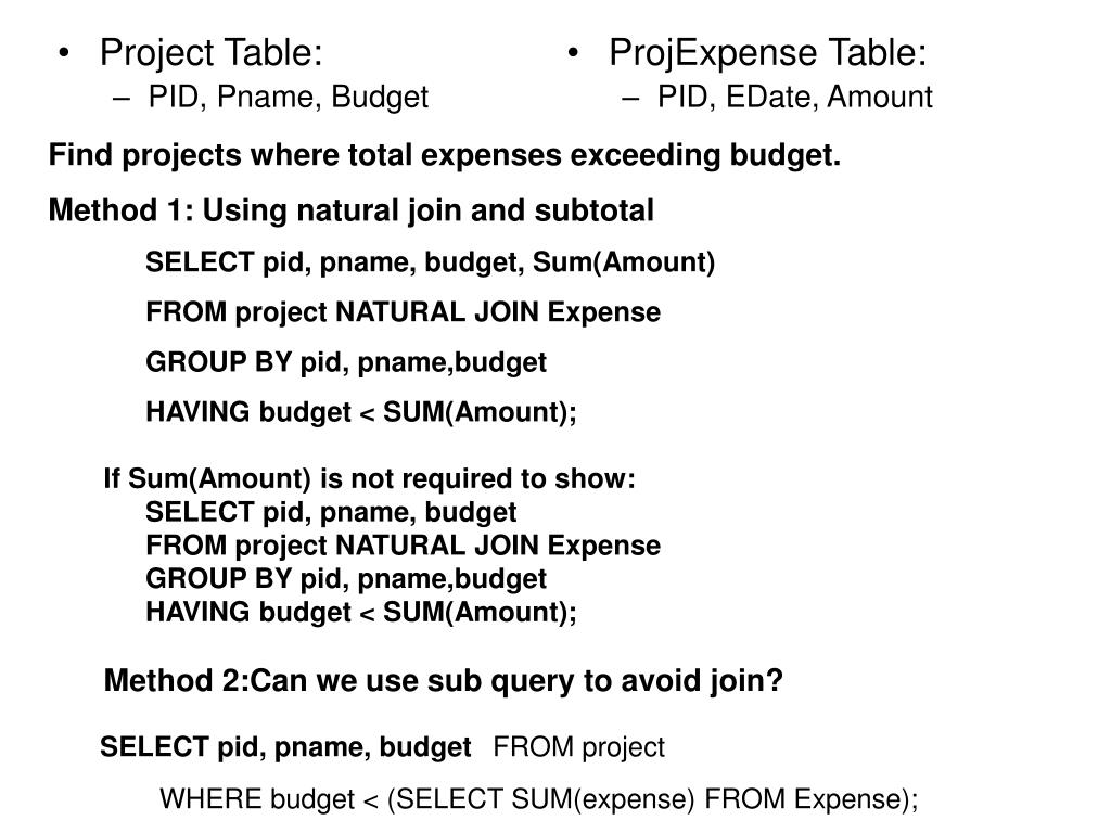 Project Table: