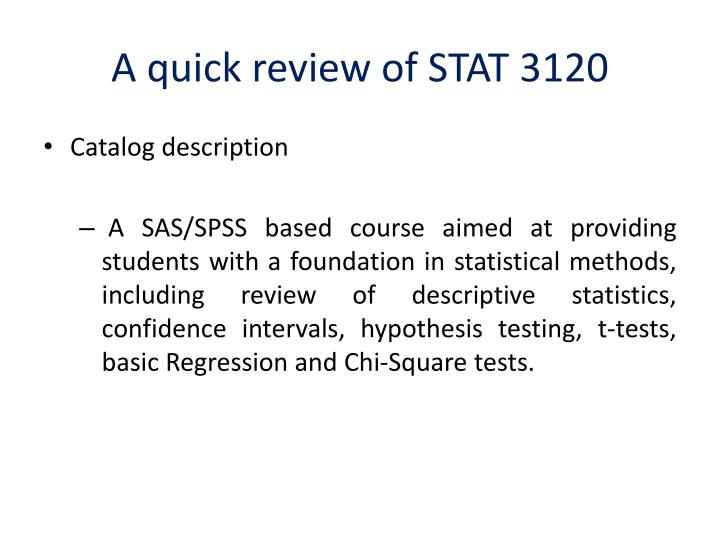 A quick review of stat 3120