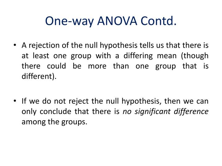 One-way ANOVA Contd.