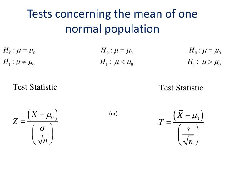 Tests concerning the mean of one normal population