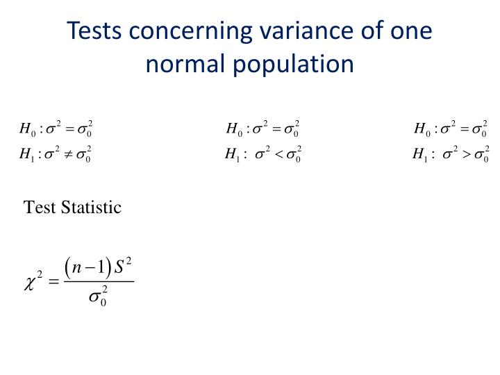 Tests concerning variance of one normal population