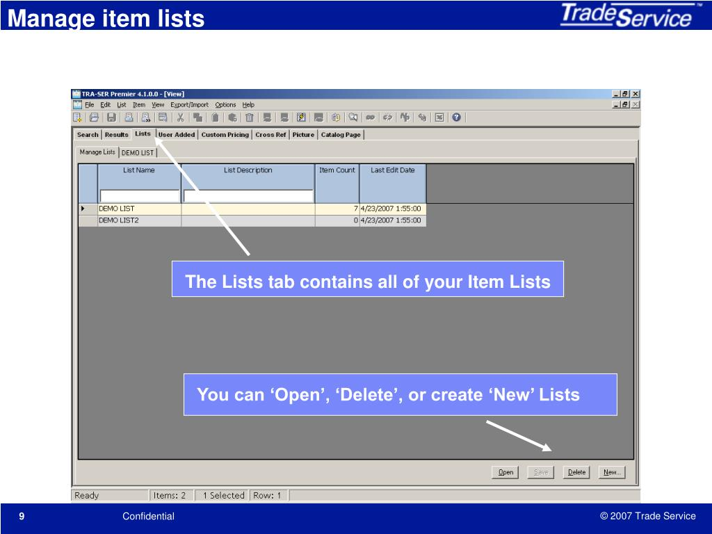 Manage item lists