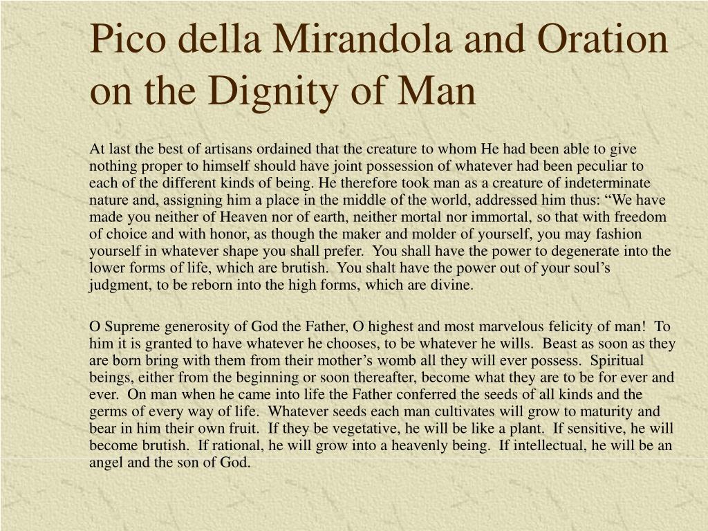 Pico della Mirandola and Oration on the Dignity of Man