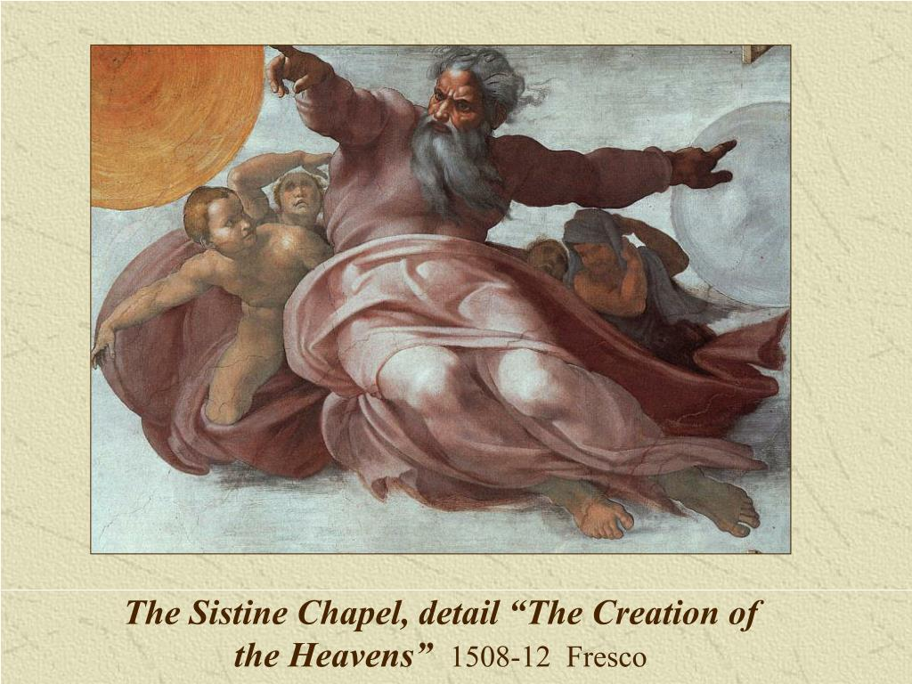"""The Sistine Chapel, detail """"The Creation of the Heavens"""""""