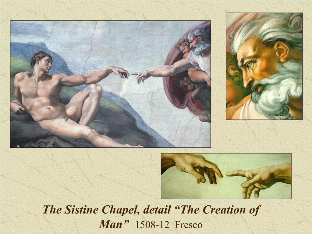 """The Sistine Chapel, detail """"The Creation of Man"""""""