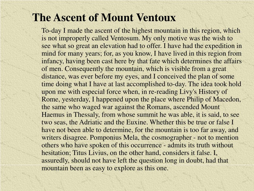The Ascent of Mount Ventoux