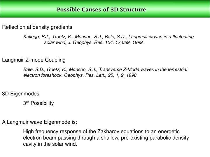 Possible Causes of 3D Structure